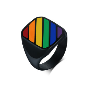 Wholesale Stainless Steel Signet Ring Rainbow Striped