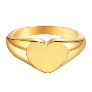 Wholesale Stainless Steel Engravable Heart Seal Ring