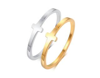 Wholesale Stainless Steel Sideways Cross Ring For Women