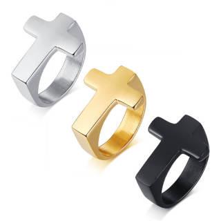 Wholesale Stainless Steel Simple Mens Cross Rings