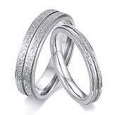 Wholesale Stainless Steel Sandblasted Grooved Couple Ring