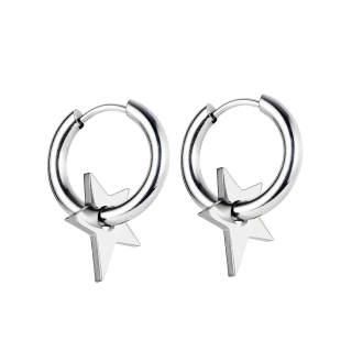 Wholesale Stainless Steel Hoop Earrings with Star