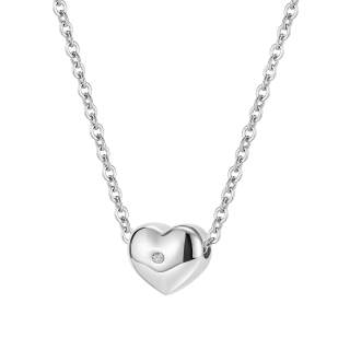 Wholesale Stainless Steel Heart Necklce with CZ