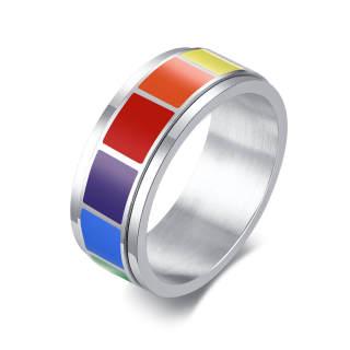 Wholesale Stainless Steel Spinner Rainbow Rings