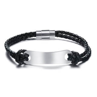 Wholesale Leather Bracelet with Personalized Stainless Steel