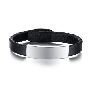 Wholesale Leather Bracelet with ID Stainless Steel