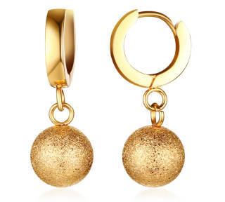 Stainless Steel Hoop Earring with Ball