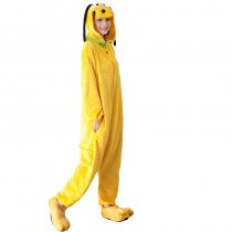 Yellow Flannel Dog Adult Onesie Kigurumi For Animal Pajamas Dog Winter Bodysuit Cosplay Unisex Sleepwear Halloween Pyjamas