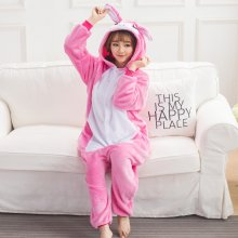 Bunny Kigurumi Animal Rose Red Flannel Adult Onesie Pajamas Rabbit For Women Cosplay Sleepwear home Special Costume