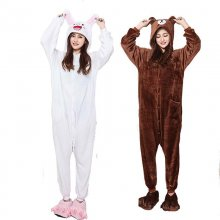 Soft Couple Kigurumi Brown Bear Onesie For Adult Animal Cony Bunny Costume Cartoon Pajamas Funny Cosplay Party Halloween Suit
