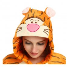 Funny Orange Tiger Animal Kigurumi Flannel Onesie For Women Pajamas Party Bodysuit Cosplay Unisex Sleepwear Halloween Pyjamas