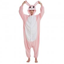 Pink Rabbit Pajamas Animal Onesie For Adults Women Men Overalls Fleece Winter Sleepwear Cosplay Party Jumpsuit Kigurumi Onepiece