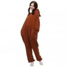 Funny Kigurumi Polar-Fleece Brown-Bear Cartoon Onesie Sleepwear Pajama-Halloween-Carnival-Masquerade-Party-Jumpsuit