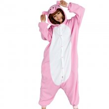 Adorable Pink Pig Kigurumi For Adult Pajamas Warm Polar Fleece Onesie For Halloween One-piece Pig Jumpsuit Cosplay Costume