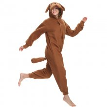 Cute Brown Teddy Dog Onesie Unisex Kigurumi Halloween Costume Animal Adult Pajamas Winter Sleepwear For Cosplay Carnival Party