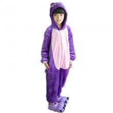 Adorable Purple Cat Kids Kigurumi Pajamas Baby One-Piece Flannel Animal Onesie Cartoon Warm Children Jumpsuit Winter Sleepwear