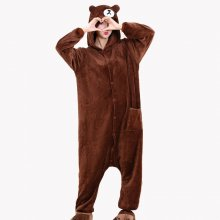 Kigurumi Brown Bear Onesie Flannel Cartoon Adult Pajamas Brown Bear For Women Animal Cosplay Onesie Sleepwear Men Suit Costume