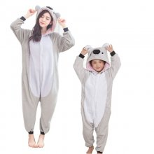 Funny Koala Onesie Flannel Mommy and Me Daughter Clothes Koalas Kigurumi Animal Matching Outfits Adult Women For Halloween Party