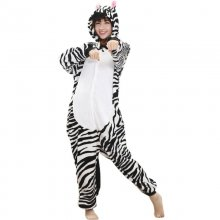 Cute Zebra Onesies For Women Pajamas Night-suit Set At Home Party Adult Kigurumi For Halloween Cosplay