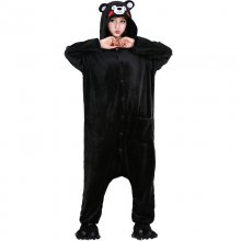 Cute Kumamon Kigurumi Onesie Animal Adult Men Women Black Pajamas For Halloween Party Jumpsuit Soft Flannel Cosplay Costume