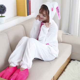 Funny Animal Love Rabbit Onesie Kigurumi Jumpsuit For Adult Pajamas Women For Sleepwear Men Bunny Pyjamas Cosplay Party
