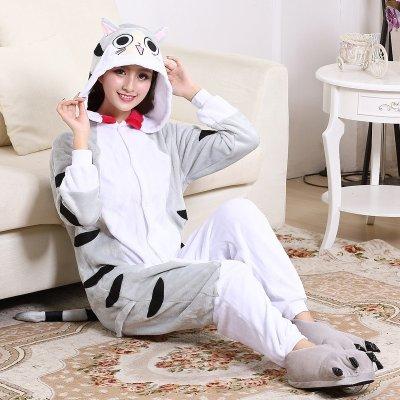 Large Size XXL Cute Cheese Cat Kigurumi Flannel Cartoon Onesie For Men  Pajamas Night-suit 296b5f250