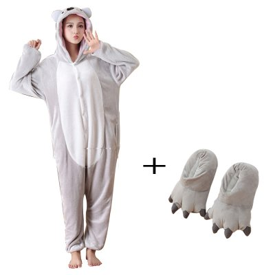 Fancy Plush Koala Kigurumi Animal Pajamas one piece Bodysuit Adult Onesie  Sleepwear With Slippers Cosplay Bodysuit 6eb763f62