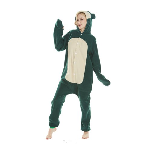 453a286bdfe6 Adorable Cartoon Pokemon Snorlax Kigurumi Fleece Onesie Jumpsuit Costume  Adult Pajamas Cosplay Halloween Carnival Green Sleepwear