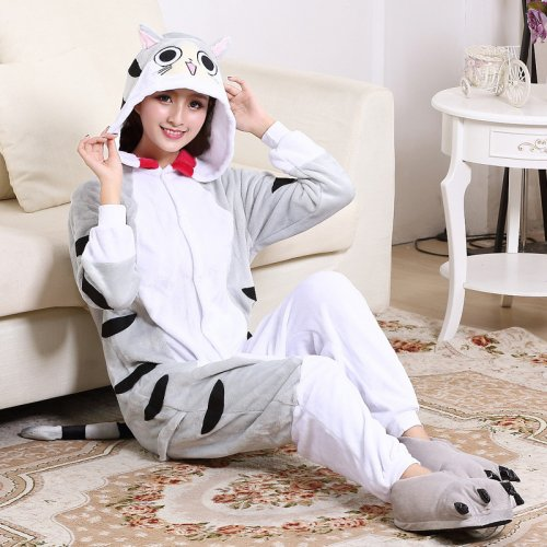Large Size XXL Cute Cheese Cat Kigurumi Flannel Cartoon Onesie For Men  Pajamas Night-suit Set Cosplay Jumpsuit Party Sleepwear c33d0149b