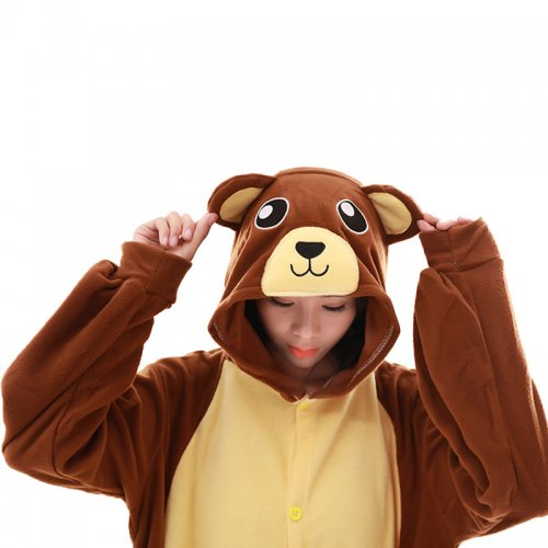 44357fc04d74 Funny Brown Bear Onesie Kigurumi Women Jumpsuit For Adult Pajamas Sleepwear  Men Animal Costume Halloween Pyjamas ...