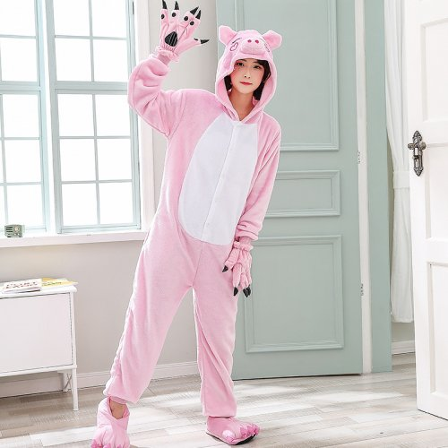 3a8fe676fc87 Soft Pink Pig Onesie Women Pajamas For Night-suit Set At Home Adult  Kigurumi For Halloween ...