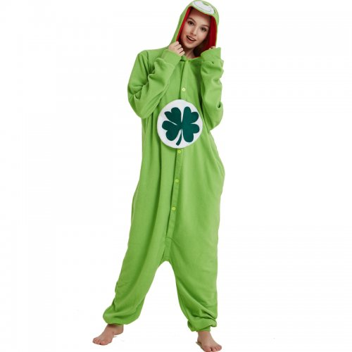 e0f6dafc8 Lucky Care Bear Onesie Green Cosplay Animal Costume Kigurumi Pajamas Adult Women  Men Unisex One Piece Hooded Party For Halloween