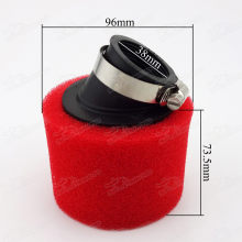 Red Angled Air Filter 38mm Dual Layer Sponge Foam Cleaner For 110cc 125cc CRF KLX TTR BBR Dirt Pit Motard Fiddy Bikes ATV Quad Monkey Dax Bike Buggy Go Kart Motocross Motorcycle