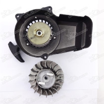 Aluminium Easy Pull Starter W/ Flywheel For 47cc 49cc Minimoto Pocket Bike Mini Dirt ATV Quads