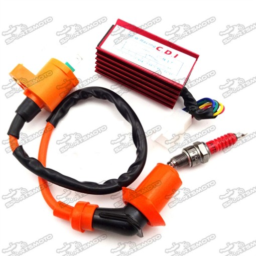 Racing Ignition Coil + A7TC Spark Plug + 5 Pin AC CDI Box For 50cc 70cc 90cc 110cc 125cc 140cc 150cc 160cc XR50 CRF50 Chinese Pit Dirt Bike