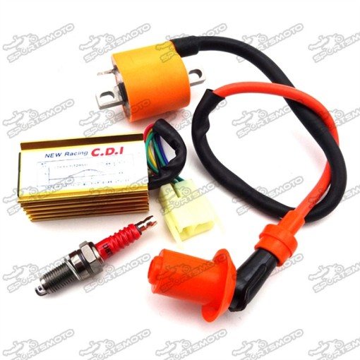 Racing Ignition Coil + 6 Pin AC CDI Box + D8TC Spark Plug For 150cc 200cc 250cc Engine Chinese Dirt Pit Bike ATV Quad 4 Wheeler