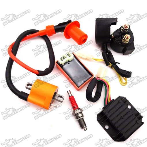 Racing Ignition Coil + AC 6 Pin CDI Box + D8TC Spark Plug + Regulator Rectifier + Solenoid Relay For 150cc 200cc 250cc Engine Chinese ATV Quad Motorcycle
