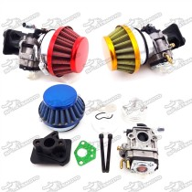 15mm Carburetor Carb + 44mm Air Filter + Alloy Stack + Manifold For 2 Stroke 33cc 43cc 49cc Engine Goped EVO Gas Scooter