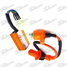 Racing Ignition Coil + 6 Pin Wires AC CDI Box For Chinese GY6 50cc 125cc 150cc Engine ATV Quad Go Kart Moped Scooter