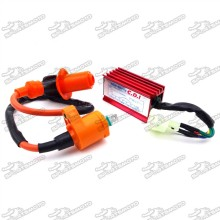 6 Pins Wires AC CDI Box + Racing Ignition Coil For Chinese GY6 50cc 125cc 150cc ATV Quad Go Kart Moped Scooter