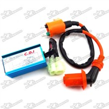 Racing Ignition Coil + 6 Pin Wires AC CDI Box For Chinese GY6 50cc 125cc 150cc Moped Scooter Chinese Pit Dirt Bike ATV Quad 4 Wheeler Scooter Roketa Coolster