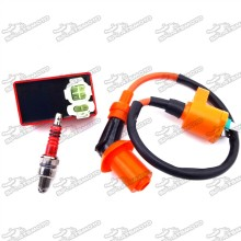 Racing Ignition Coil + 6 Pin AC CDI Box + A7TC Spark Plug For Chinese GY6 Moped Scooter 50cc 125cc 150cc