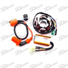 Magneto Stator + Racing Ignition Coil + 6 Pin AC CDI Box For Chinese GY6 125cc 150cc Engine ATV Quad 4 Wheeler Moped Scooter
