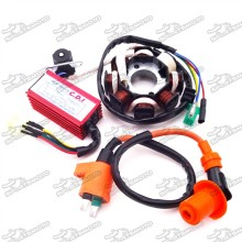Magneto Stator + Ignition Coil + 6 Pin AC CDI Box For Chinese GY6 125cc 150cc ATV Quad Go Kart Scooter Moped