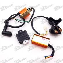 Racing 5 Pin AC CDI Box + Ignition Coil + 4 Pin Voltage Regulator Rectifier + Starter Solenoid Relay For 50cc 70cc 90cc 110cc Engine Chinese ATV Quad 4 Wheeler