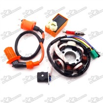 Ignition Coil + 6 Pin AC CDI Box + A7TC Spark Plug + Magneto Stator For Chinese GY6 125cc 150cc Engine Moped Scooter