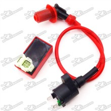 Red Racing Ignition Coil + 6 Pin AC CDI Box For Chinese GY6 50cc 125cc 150cc Moped Scooter ATV Quad 4 Wheeler Go Kart
