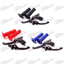 Alloy Folding Brake Clutch Lever + Throttle Handle Grips For CRF50 SSR Thumpstar TTR KLX Chinese Pit Dirt Trail Bike