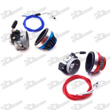 19mm Racing Carburetor Carb + 58mm Air Filter + Gas Throttle Cable For 2 Stroke 49cc 50cc 60cc 66cc 80cc Engine Motorized Bicycle Push Bike