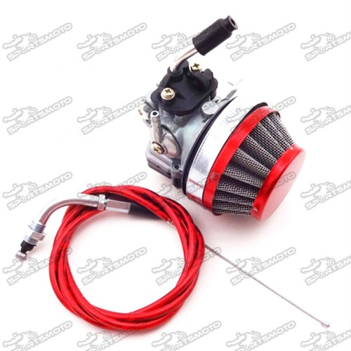 NAVARME Red Racing Carburetor 36T Sprocket Air Filter Throttle Clutch Cable Kit For 2 Stroke 60cc 80cc Motorized Bicycle Engine